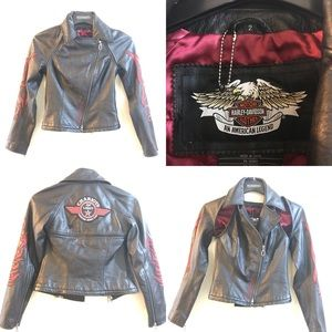 Womens Harley Davidson Leather Biker Jacket Sz 2